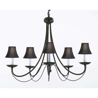 Bowey 5-Light Shaded Chandelier Shade Color: Black