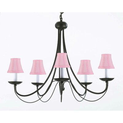Bowey 5-Light Shaded Chandelier Shade Color: Pink