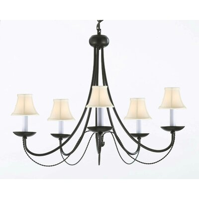 Bowey 5-Light Shaded Chandelier Shade Color: White