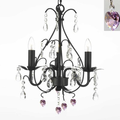 3-Light Crystal Chandelier Finish: Black