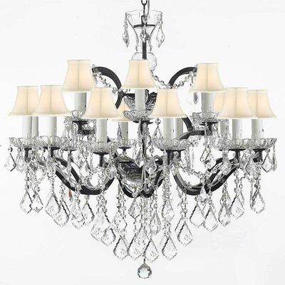 18-Light Shaded Chandelier Shade Color: White