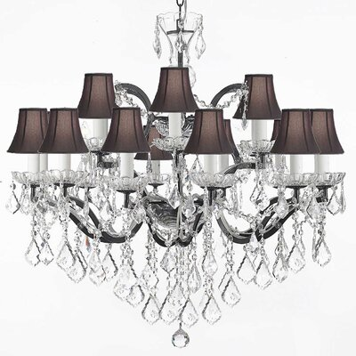 18-Light Shaded Chandelier Shade Color: Black