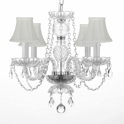 4-Light Crystal Chandelier Shade Color: White