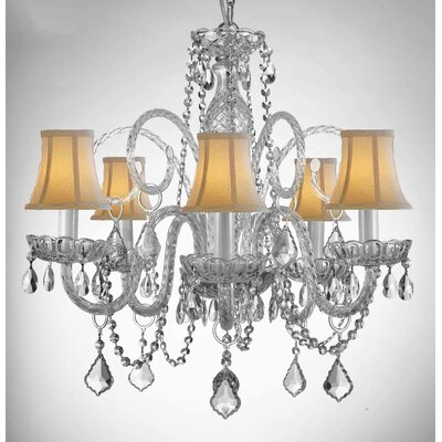 Royal 5-Light Crystal Chandelier Shade Color: White