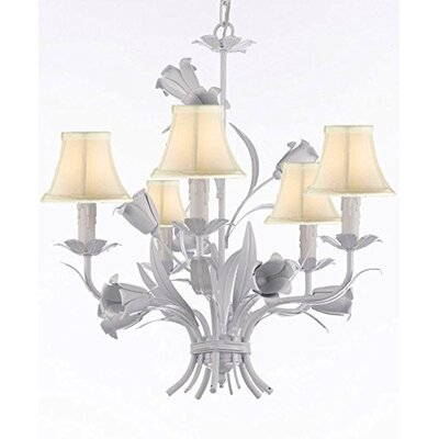 5-Light Shaded Chandelier Shade Color: White