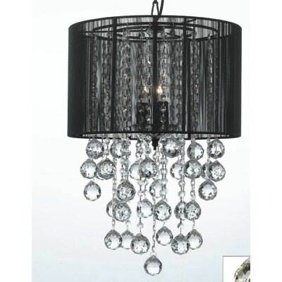 Dia 3-Light Drum Chandelier Shade Color: Black
