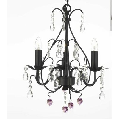 Clemence 3-Light Black Crystal Chandelier