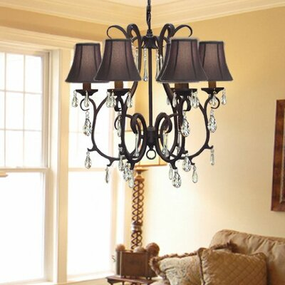 Alvan 6-Light Traditional Shaded Chandelier Shade Color: Black