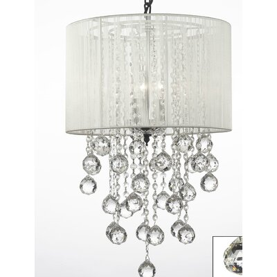 3-Light Drum Chandelier Shade Color: White