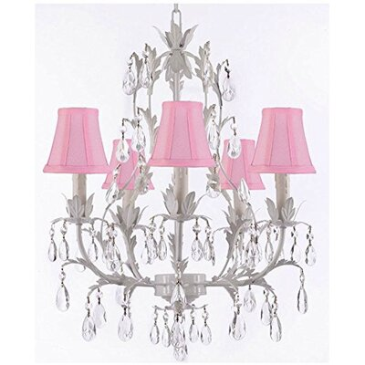 5-Light Shaded Chandelier Color: Pink Shades
