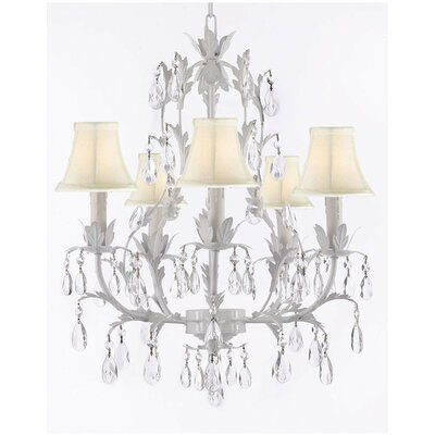 5-Light Shaded Chandelier Color: White Shades