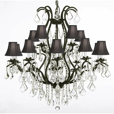 Clemence 15-Light Shaded Chandelier Color: Black Shades
