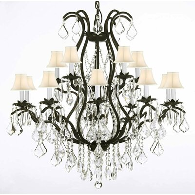 Clemence 15-Light Shaded Chandelier Color: White Shades