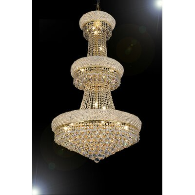 Lintz 24-Light Crystal Chandelier Color: Gold