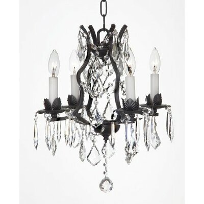 Clemence 4-Light Black Crystal Chandelier