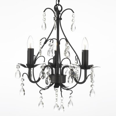 Clemence 3-Light Clear/Black Crystal Chandelier Finish: Black