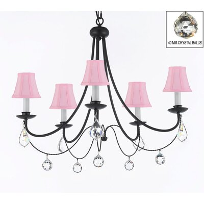 Clemence 5-Light Black Chain Shaded Chandelier Shade Color: Pink