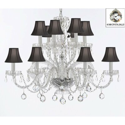 Bowey 12-Light Crystal Chandelier Shade Color: Black