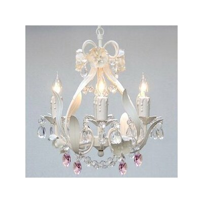 Bowey 4-Light Candle-Style Chandelier Crystal Color: Pink