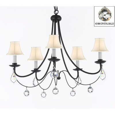 Clemence 5-Light Black Chain Shaded Chandelier Shade Color: White