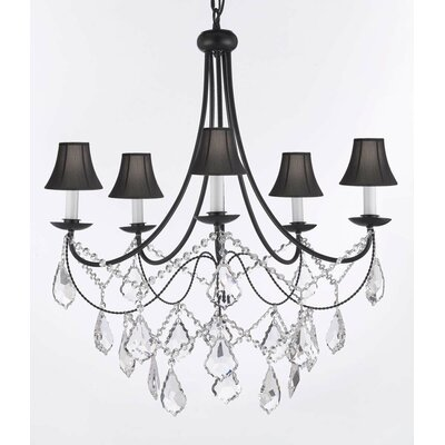 Clemence 5-Light Fabric Shade Crystal Chandelier