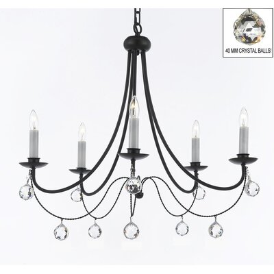 Clemence 5-Light Candle-Style Chandelier with Chain and Wire
