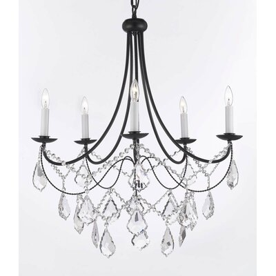 Clemence 5-Light Black Chain Candle-Style Chandelier