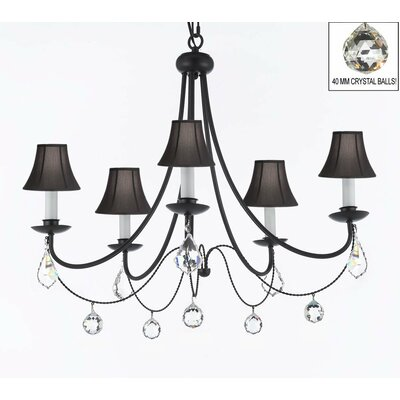 Clemence 5-Light Black Chain Shaded Chandelier Shade Color: Black