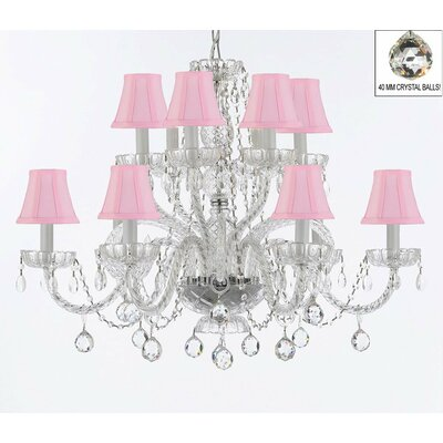Bowey 12-Light Crystal Chandelier Shade Color: Pink