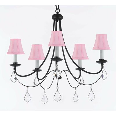 Clemence 5-Light Wrought Iron Base Shaded Chandelier