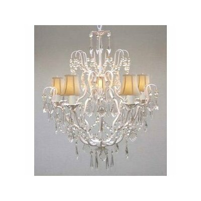 Clemence 5-Light Wrought Iron Base Chain Crystal Chandelier Shade Color: Orange