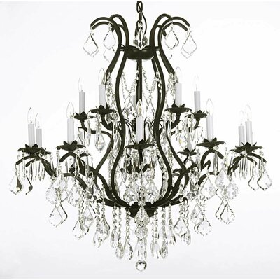 Alvan 15-Light Black Crystal Chandelier