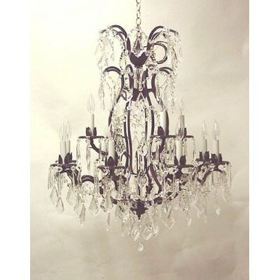 Alvan 12-Light Wrought Iron Base Chain Crystal Chandelier