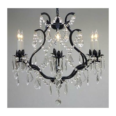 Alvarado 6-Light Black Crystal Chandelier