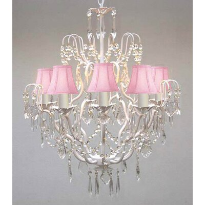 Clemence 5-Light Wrought Iron Base Chain Crystal Chandelier Shade Color: Pink