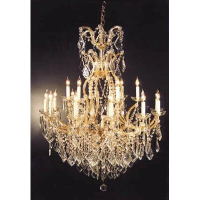 Alvarado 16-Light Gold Crystal Chandelier Size: 44 H x 37 W