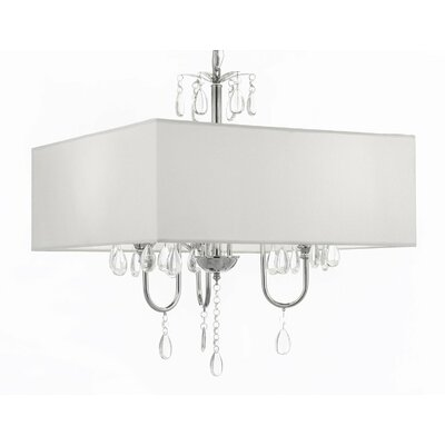 3-Light Shaded Chandelier Shade Color: White