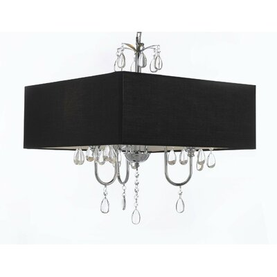 3-Light Shaded Chandelier Shade Color: Black