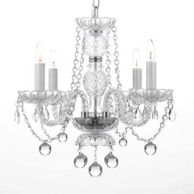 Wynn 4-Light Crystal Chandelier Feature: Plug-in Kit Included