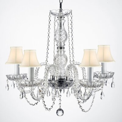 Jozwiak 5-Light Crystal Chandelier Shade Color: White