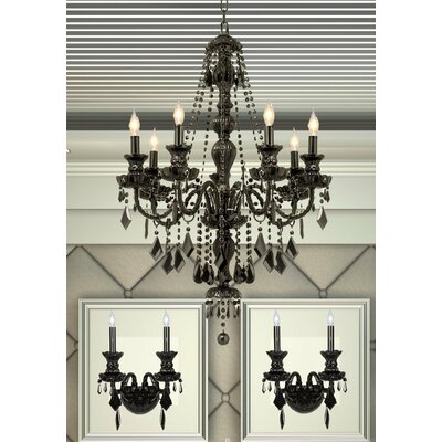 3 Piece Crystal Chandelier and Wall Sconce Set