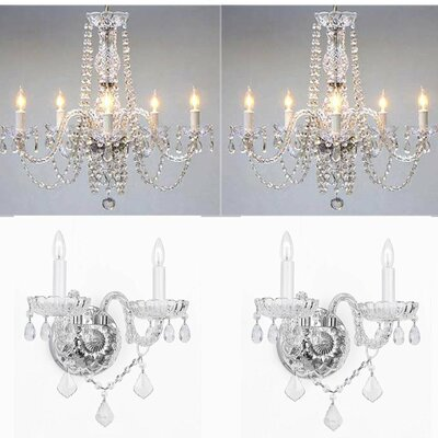 Little Neck 4 Piece Crystal Chandelier and Wall Sconce Set
