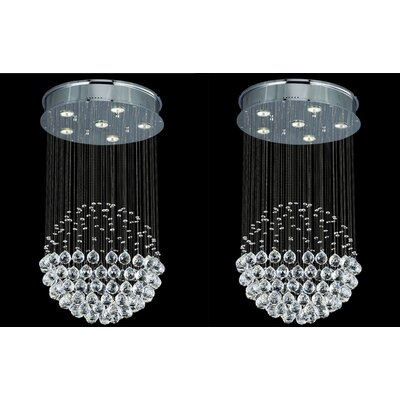 Rain Drop 6-Light Crystal Chandelier