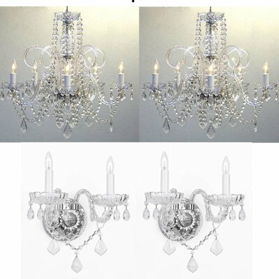 Littell 4 Piece Crystal Chandelier and Wall Sconce Set
