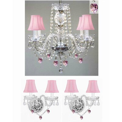 3 Piece Shaded Chandelier and Wall Sconce Set