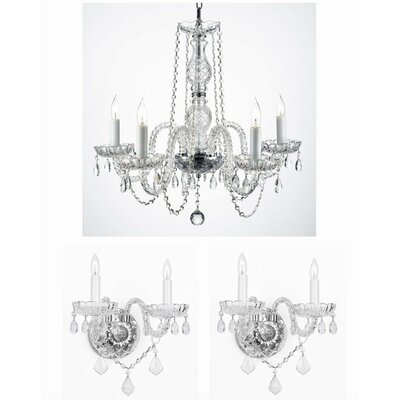 Keister 3 Piece Crystal Chandelier and Wall Sconce Set