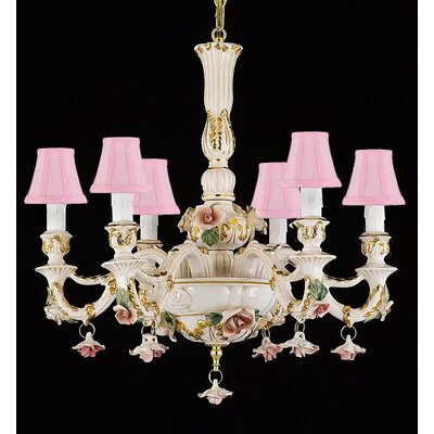 6-Light Shaded Chandelier Shade Color: Pink