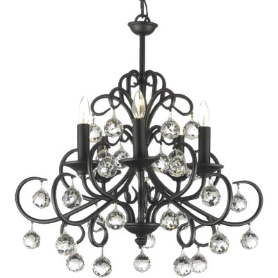 Clemence 5-Light Wrought Iron Base Crystal Chandelier Finish: Black