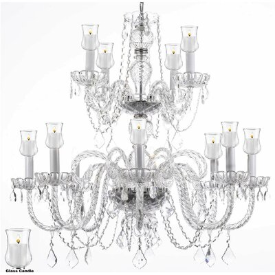 12-Light Crystal Chandelier Size: 27 H x 32 W x 32 D