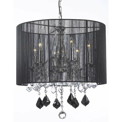 6-Light Drum Chandelier Shade Color: Black